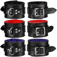 Slap Leather Ankle Cuffs With Faux Fur