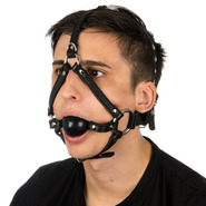 Slap Leather Ball Gag Head Harness