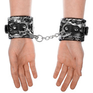 Elegant Silver & Black Lace Handcuffs