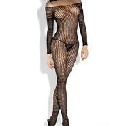 Fantasy Long Sleeve Crochet Net Bodystocking