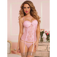 Seven Til Midnight Veronica Pink Dotted Lace Bustier