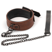 Luxury Brown Leather Collar & Chain Leash