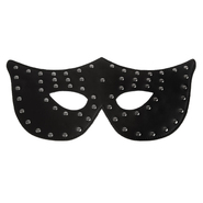 Studded Black Leather Cat Mask