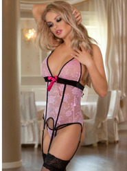 Pink Lace Basque & Stockings Set