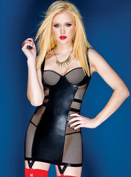 Coquette Darque Wet Look and Fishnet Chemise