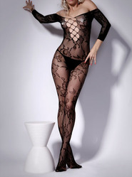 Floral Lace Up Bodystocking