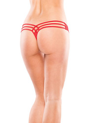 Coquette Red Caged Back Lace Thong
