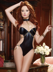 Dreamgirl Faux Leather Halter Neck Teddy with Chain Collar & Leash