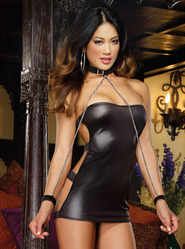 Dreamgirl Strapless Buckle Back Mini Dress with Collar & Wrist Restraints