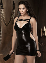 Dreamgirl Plus Size Studded Cut Out Chemise with Paddle