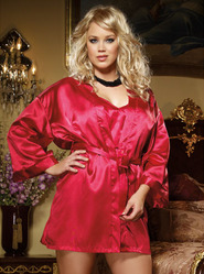 Dreamgirl Plus Size Red Charmeuse Kimono & Open Back Chemise Set