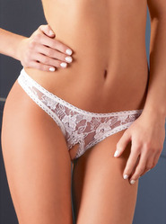 Delicate White Lace Crotchless G-String Panty