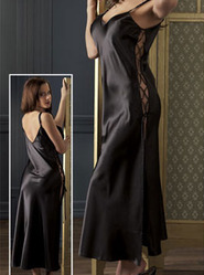 Black Satin Full Length Chemise