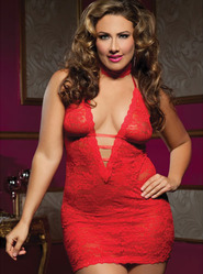 Seven Til Midnight Queen Red Midnight Affair Halter Tie Chemise