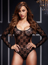 Baci Long Sleeve Open Back Lace Bodysuit