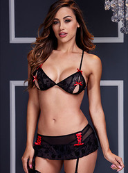 Baci Peek-a-Boo Bra and Garter Skirt Set