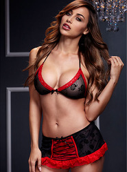 Baci Bra Set with Black and Red Skirted Brief