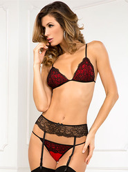 Rene Rofe Crown Pleasure Bra and Garter Set