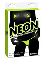 Green Neon Vibrating Panty & Pasty Set