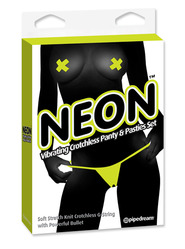 Yellow Neon Vibrating Panty & Pasty Set