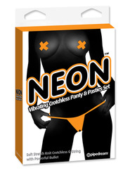 Orange Neon Vibrating Panty & Pasty Set