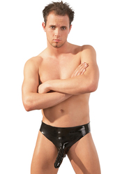 Mens Latex Briefs With Butt Plug and Penis Sleeve