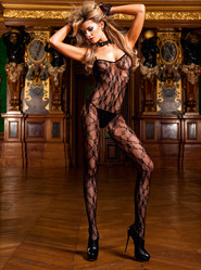 Baci Flower Lace Bodystocking Black
